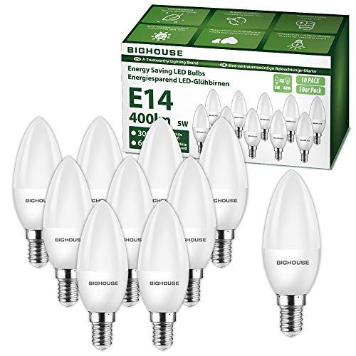 E14 LED Kerze Warmweiss (3000K), 5W 400 Lumen E14 LED Lampe Ersatz für 40W Halogenlampen, C37 Leuchtmittel, 270°Abstrahlwinkel, CRI>80, 220-240V AC (10 Stück)