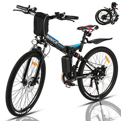 "VIVI Bicicleta Electrica Plegable 350W Bicicleta Eléctrica Montaña, Bicicleta Montaña Adulto Bicicleta Electrica Plegable 26"", Batería de 8 Ah, 32 km/h Velocidad MÁX (Azul-350W)"