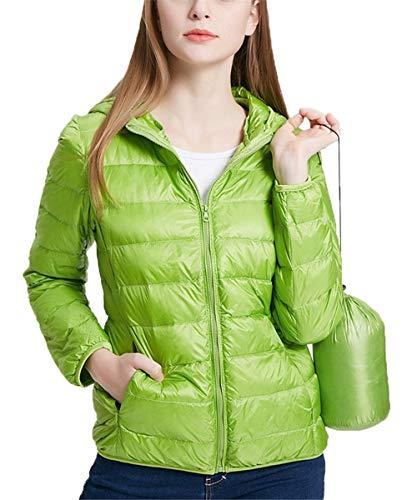 QCHENG Steppjacke Damen Leicht Daunenjacke Packbar mit Kapuze Winter Wärm Kälteschutz Daunenmantel Grün XS