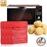 Funmo Bolsa para Patatas en Microondas, Microondas Olla Bolsa de Papa,Lavable Reutilizable Bolsa Patatas Solo en 4 Minutos(Rojo)
