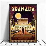 Póster de viaje de Alhambra Granada España e impresión de arte de pared lienzo pintura cuadros Vintage decoración del hogar 50x70 cm x1 sin marco