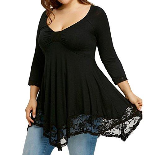 VJGOAL Damen Bluse, Frau Große Größe Mode Lace Long Sleeve Lässige unregelmäßige Solid T-Shirt Sommer Tops Bluse Frau Geschenk (XXXXXL, Schwarz)