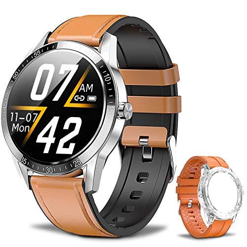 Smartwatch Fitness Armbanduhr Für Damen Herren, Bluetooth-Anruf, Musikwiedergabe, Sport Fitness Tracker mit Herzfrequenzmesser, Schlafmonitor, Schrittzähler, Smartwatch Wasserdicht Für Android iOS