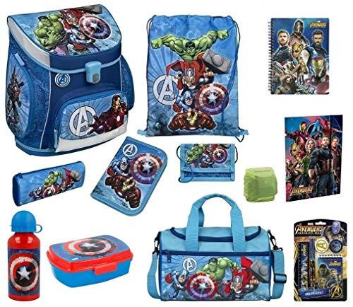Familando Avengers Schulranzen-Set 17tlg. Scooli Campus Fit mit Sporttasche Federmappe und Regenschutz