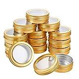 BENECREAT 14 Pack 60ml Latas de Aluminio con Tapa de Rosca Latas Redondas de Aluminio Tapa con Ventana Transparente - Ideal para Almacenar Especias, Caramelos, té o Regalos (Oro)