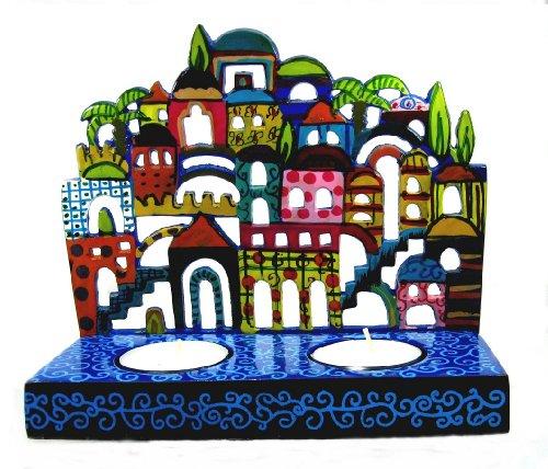 Kerzenhalter Kerzenleuchter, Kerzenständer, Vor Der Sabbat, auch Schabbat Leuchter mit Jerusalem Ansichten, Laser-Cut