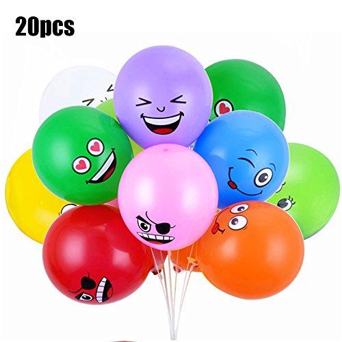 Flytise Ojos Grandes Impresos Lindo Emoji Cara Sonriente Globos de látex para Fiesta de cumpleaños o decoración de Vacaciones Estilo 2 Pack de 20 Multicolor