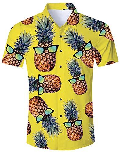 Sommer Ananas Hemd Herren Lustig Fire Hawaiian Shirt und Shorts Sets Lässige Kurzarm T-Shirts Urlaub Kleidung Gelb M