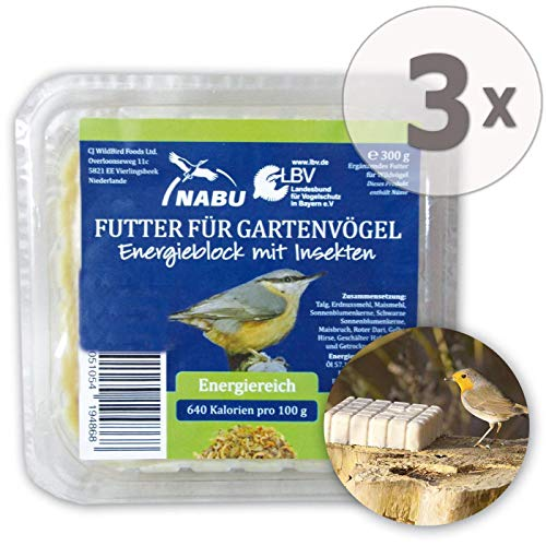 CJ Wildlife Energieblock mit Insekten für Wildvögel, Sparpack 3 x 300 g