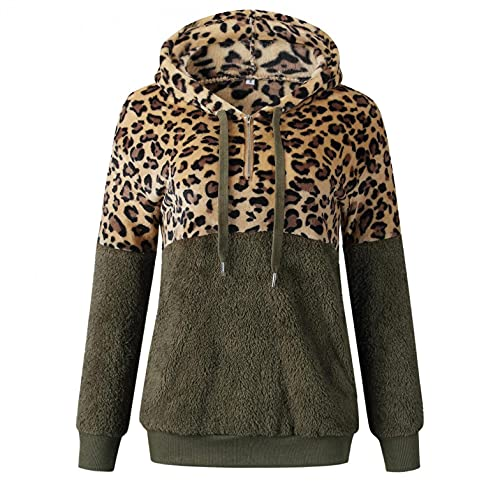 Hoodies For Women Plus Size Sudadera de Fleece Esponjoso Abrigos Mujer Invierno Polar Sudadera con Estampado de Leopardo Sudadera Capucha Pullover Mujer Cremallera de 1/4 S-5xl Talla Grande Suelta