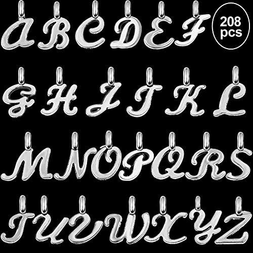 Hicarer 208 Pezzi Ciondoli Alfabeto A - Z Lettera Ciondolo Charm Fai da Te Charm Artigianali per La Creazione di Gioielli e Accessori Fai-da-Te