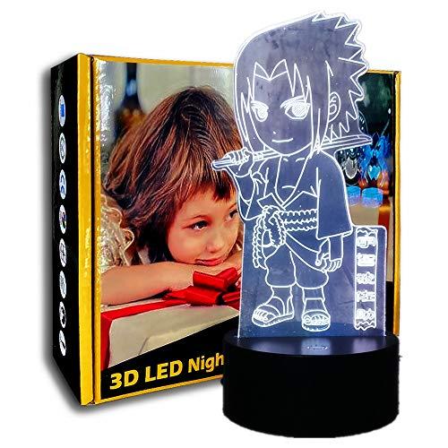 KangYD 3D Night Light Cartoon Uchiha Sasuke, LED Illusion Lamp, Kid Gift, Friend Gift, Birthday Gift, Decor Gift, F - Base Audio Bluetooth (5 couleurs)