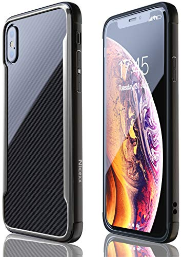 iPhone X Case | iPhone Xs Case | Shockproof | 12ft. Drop Tested | Carbon Fiber Case | Wireless Charging | Lightweight | Scratch Resistant | Compatible with Apple iPhone X/Xs - Black