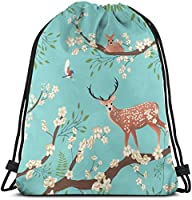 鳥と鹿の巾着バックパックジムサックシンチバッグストリングバッグ-6