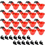 Angoodden 15PCS Fully Automatic Poultry Drinking Machine Chicken Drinking Cup for Chicken Quail Pigeon (Red)