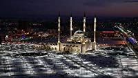 City an Mosque in Night Lights