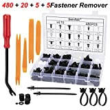 Guteauto 480Pcs Car Retainer Clips Kit Nylon Bumper 18 Most Popular Sizes Auto Fastener Rivet Clips - with Fastener Remover and Door Trim Panel Clips for GM Ford Toyota Honda Chrysler