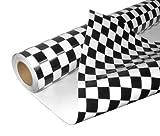 DiversityWrap - Rollo de vinilo adhesivo decorativo para coche, diseño de bandera de carrera a cuadros, acabado brillante
