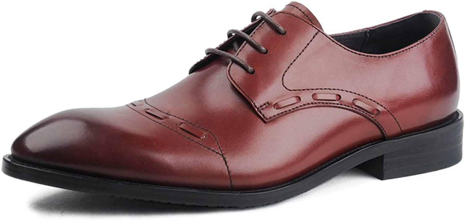 MedzRE Men's Leather Lace up Derby Dress shoes with Decorative Toe Cap