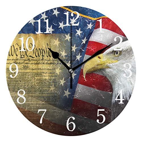 BKEOY Wanduhren mit Vintage-Maleroberfläche, Patriotische Symbole, Flagge Amerika-Uhr, geräuschlos, Nicht tickend, Heimdekoration
