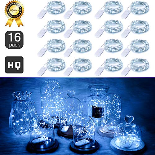 LED Fairy String Lights Battery Powered, 16 Pack 20 LED Starry Lights, 6.6FT/2M Cooper Wire, Waterproof Firefly Lights in Bottles Jar For DIY Wedding Centerpiece, Table Decor, Party (Cool White)