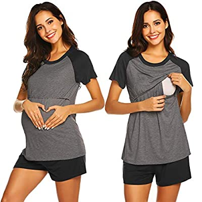 Ekouaer Maternity Loungewear 2 Pieces Women Long Sleeve Nursing Pajamas Set (Charcoal Gray S)