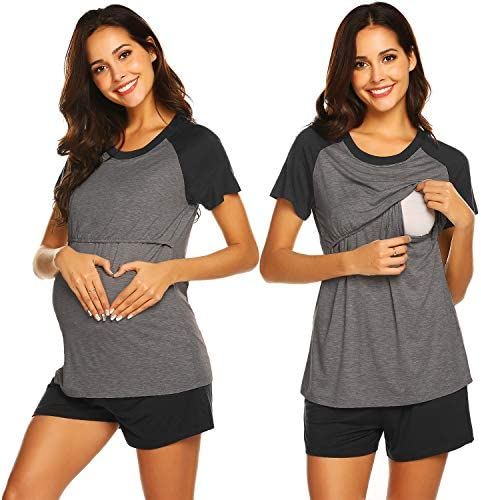 Ekouaer Nursing Top Maternity Nightgown Womens Soft Breastfeeding Pajamas Sleepwear Set Charcoal product image