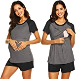Ekouaer Nursing Pajamas for Breast Feeding Nursing PJ Maternity Clothes Nightgown Hospital Delivery Gown (Charcoal Gray M)