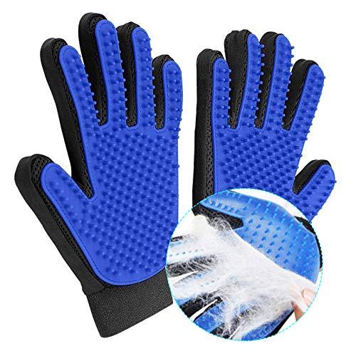 Pet Grooming Glove Hair Remover Brush Gentle Deshedding Efficient Pet Mitt Pet Massage Gloves Left & Right Hand Draw Dogs Cats Horses Long Short Fur cat mitt brush (1Pair left & right hand (Blue ))