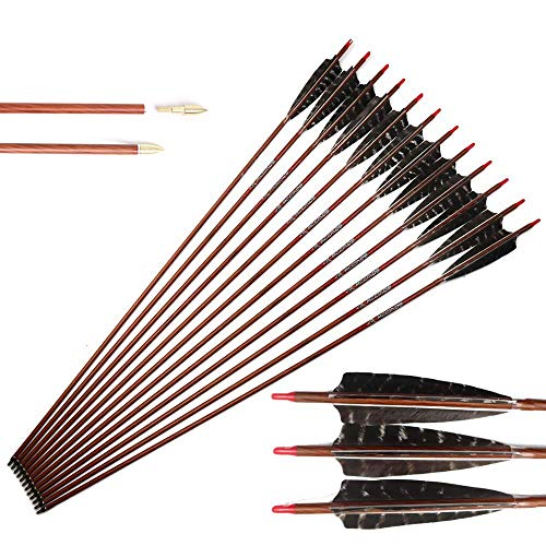 28 Inch Arrow 500 Spine Arrow Target Practice Arrow Hunting Arrow Carbon Arrows Compound Bow Recurve Bow Adult Youth Archery Indoor Outdoor Shooting Bullet Tip Wooden Wood-Like