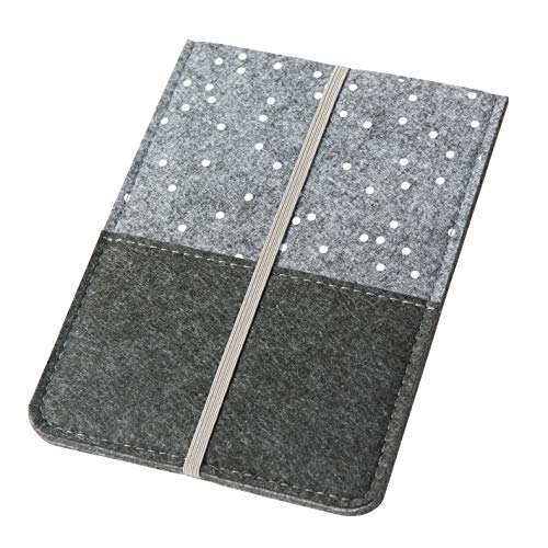 Hülle/Schutzhülle \'Punkte\' für Kindle, grau (Farbe/Motiv wählbar) | eReader-Hülle für 6 Zoll (15cm) eBooks aus Filz