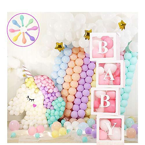 Jewaytec Baby Shower Decorations Box Blocks, 4Pcs Cajas de globos Transparentes Grandes con Bloques de Baby Shower Letter Para Artículos de Fiesta, Cumpleaños de bebé (20 Globos Incluidos)