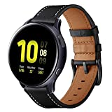 Aimtel Cinturino compatibile con Samsung Galaxy Watch Active2, cinturino in pelle da 40 mm 44 mm, cinturino in pelle da 20 mm per Galaxy Active 2, Galaxy Active 40 mm, Galaxy Watch 3 41 mm, nero