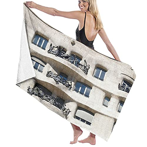 NINEHASA Toalla de Playa de Microfibra,Woody Architecture España Europa Barcelona Art Panel con Marco,Toalla Deportiva Secado Rápido Absorbente para Deportes Viajes Playa Camping