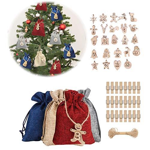 MQIAN Calendario Dell'avvento,Sacchetti Regalo Natale, Calendario Avvento Fai da Te,Sacchetto Regalo di Natale,Calendario Dell'avvento 2020(C)
