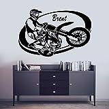 AGiuoo Personalizar Nombre Motor Cruz Bicicleta calcomanía Pegatina de Pared Motocicleta para el hogar y el Motor decoración de Garaje extraíble 114x76cm