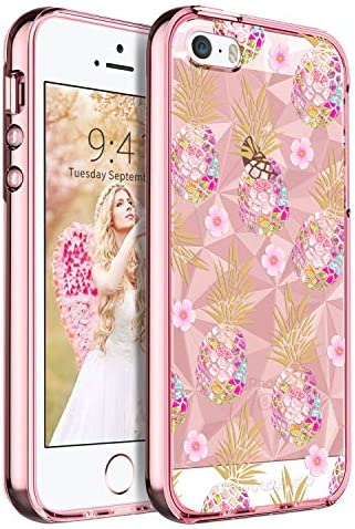BENTOBEN Protective Floral Phone Case for Apple iPhone SE 5S 5 Slim Clear Heavy Duty Protective product image