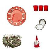 Galileo Casa Kit Natale Set da Tavola, Porcellana, Rosso, 60x40x40 cm, 35 unità