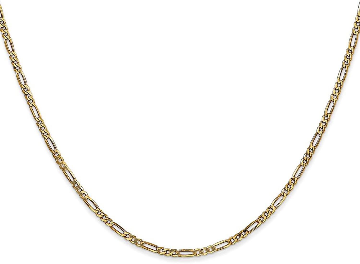 14k Yellow gold Polished Finish 1.80mm Flat Solid Figaro Chain with Lobster Clasp