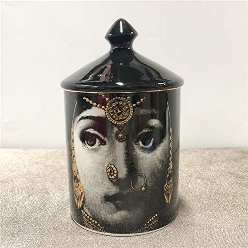 LZKUKZSA Fornasetti Candelabros Almacenamiento de cerámica Decoración de Escritorio para el hogar Fornasetti Candelabro Botella de Flores Maquillaje Bolígrafo
