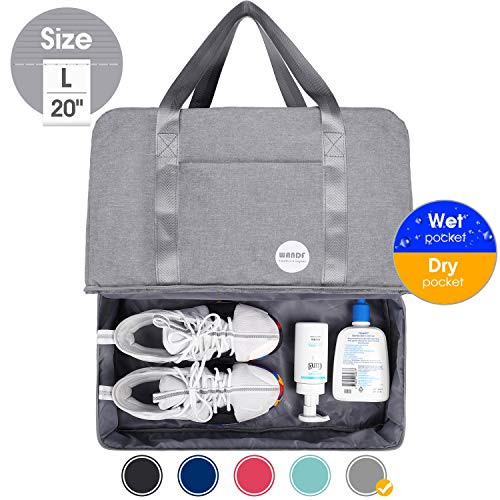 20' Gym Bag Sports Duffle 55L with Large Wet Pocket and XL Shoes Compartment for Swim Sports Travel Luggage By WANDF (Grey(20'- 55L))