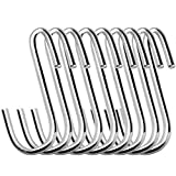 24 Pack ESFUN 3 inch Heavy Duty S Hooks Pan Pot Holder Rack Hooks Hanging Hangers S Shaped Hooks for Kitchenware Pots Utensils Clothes Bags Towels Plants