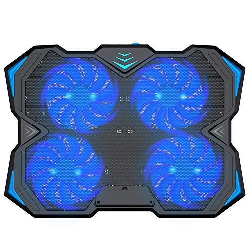 Almohadilla de enfriamiento for computadora portátil de 12 a 17 pulgadas, 4 enfriadores silenciosos, enfriadoras, con ventilador de velocidad ajustable y 3 soportes de montaje en altura, 2 puertos USB