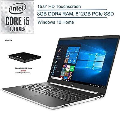 """2020 HP 15.6"""" Touchscreen Laptop Computer, 10th Gen Intel Quard-Core i5 1035G1(Beats i7-7500U), 8GB DDR4 RAM, 512GB PCIe SSD, AC WiFi, Silver, Windows 10 Home + YZAKKA External DVD Drive"""