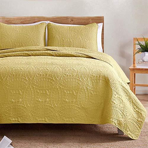 VEEYOO - Juego de colcha de microfibra suave y ligera, para verano, colcha de tamaño matrimonial/Queen (1 edredón, 2 fundas de almohada), color amarillo
