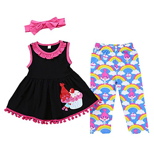 Anywow Kleinkind Baby Mädchen Tunika Kleid Regenbogen Hose Legging Kinder Kleidung Set + Stirnband