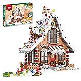 TIOL Juego de construcción de Navidad 2021, 1455 Telie Navidad casa de jengibre modelo con luz, juguete de construcción compatible con Lego