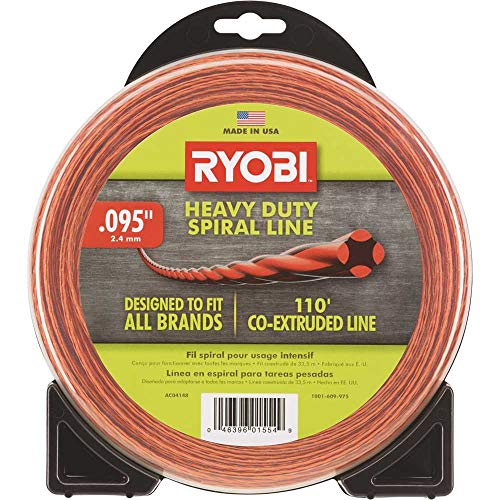 "Ryobi AC04148 .095"" x 110' Heavy Duty Spiral Twisted Trimmer Line for Cordless Gas Strimmers"