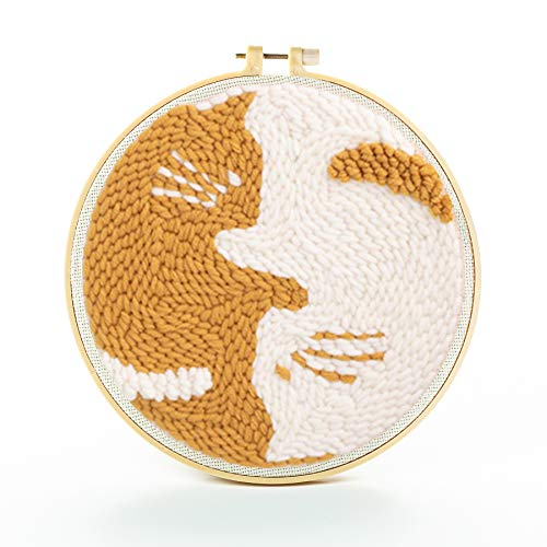 パンチニードル セット ニードルパンチ キット 手作り刺繍セット 初心者向け 家庭飾り物 装飾品 スターターキット 糸 刺繍用布 手芸キット 20cm(猫を抱き締める)