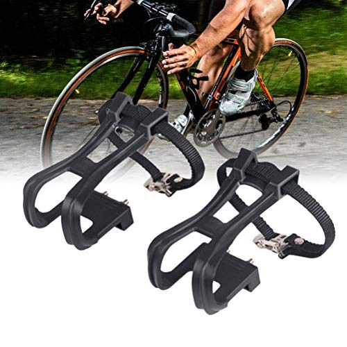 LIOOBO 1 Pair of Durable Creative Nylon Cycling Black Clip Strap Belt Cycling Pedal Toe Clip for MTB Road Bicycle Outdoor Riding